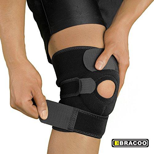Bracoo Kniebandage | atmungsaktive Kniestütze mit Klettverschluss und Patellaöffnung | verstellbare Knieorthese für Sport und Alltag | Knieschoner aus Neopren