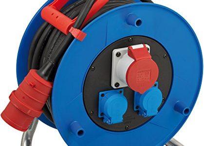Brennenstuhl Garant CEE 1 IP44 Industrie-/Baustellen-Kabeltrommel 30m – Spezialkunststoff, Baustelleneinsatz und ständiger Einsatz im Außenbereich, Made In Germany blau