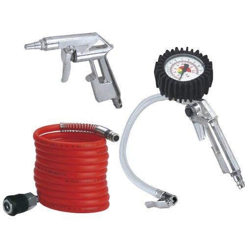 Einhell Druckluft Set, 3-teilig passend für Kompressoren 4 m Spiralschlauch, Reifenfüllmesser, Ausblaspistole kurz