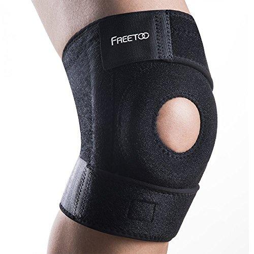 Kniebandage FREETOO Knieschoner atmungsaktiver Knieschützer verstellbare Knieorthese mit Gelenkschienen für Damen und Herren