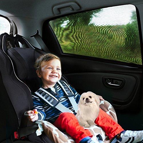 Aodoor 2er-Pack Sonnenschutz Auto für Kinder, Hunde und Babys , Sonnenblende Autos blockt mehr als 97% der schädlichen UV-Strahlung, Seitenscheibe Autosonnenschutz passt universell