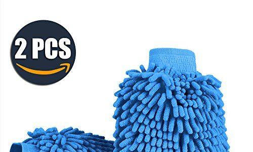 Aodoor 2er-Pack Wasserdicht Mikrofaser Waschhandschuh, weicher Korallen Autowaschhandschuh zur Autowäsche Nudel Chenille Waschhandschuh Polierer Auto Motorrad 26 x 19 cm Blau