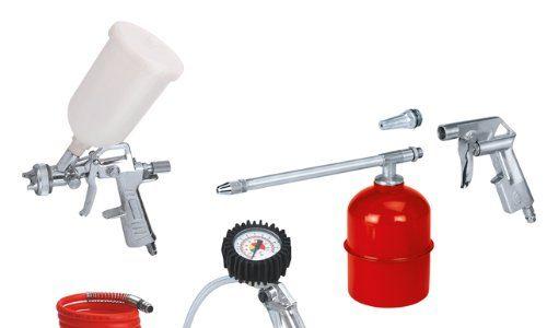 Einhell Druckluft Set, 5-teilig passend für Kompressoren 4 m Schlauch, Sprühpistole, Spritzpistole Reifenfüllmesser, Ausblaspistole