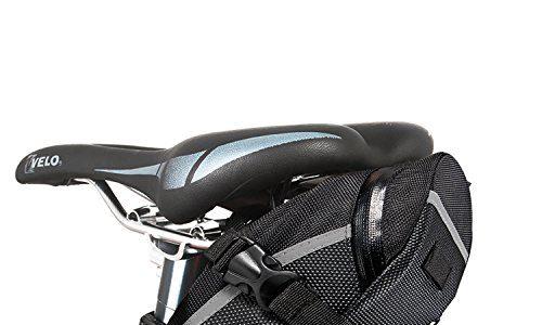 Fahrrad Satteltasche, Ubegood Kompakte Fahrradtasche Befestigungsriemen Aero Wedge Pack Satteltasche Mountainbike Bag für Handy, Werkzeug und Portmonnaie – Schwarz