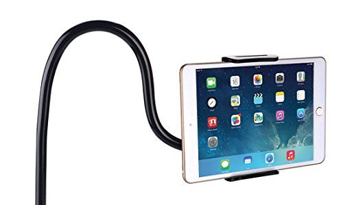Ubegood Schwanenhals Handy Halterung, iPad Schwanenhals Halterung Halter Einstellbare Halter Tablets halterung 360 ° Drehen für 4-10,6 Zoll Android und Apple Device Schwarz
