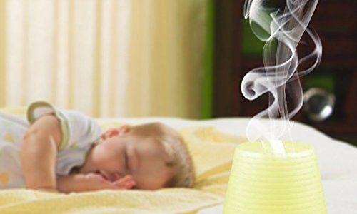 Aroma Diffuser , Ubegood 100 ml Ultraschall Luftbefeuchter mit 7 Farben Verwechselnd LED Licht Humidifier für Haus Yoga Büro Spa Schlafzimmer Babyzimmer Konferenzraum Weiß
