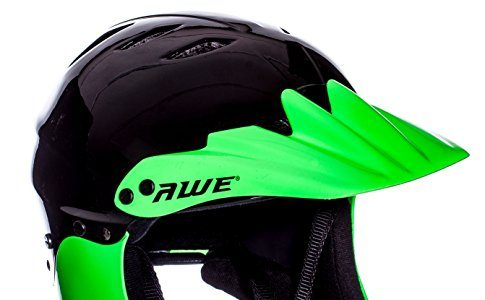 AWE® gratis 5Jahr Crash Ersatz * BMX Full Face Helm schwarz grün, Größe M 54–58cm