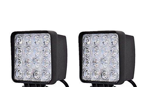 MCTECH 2 X 48W LED Offroad Flutlicht Reflektor Scheinwerfer Arbeitslicht SUV, UTV, ATV Arbeitsscheinwerfer Zusatzscheinwerfer Offroad Scheinwerfer 12V 24V Rückfahrscheinwerfer 2 X 48W Quadrat