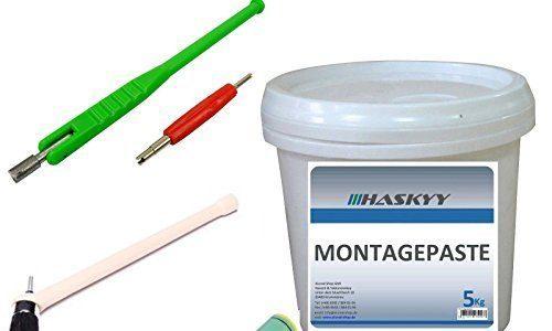 5kg Reifenmontagepaste Montagewax + Ventildreher Ventileinzieher + Profi Auswuchtzange für Klebe- und Schlaggewichte Sisa Fettkreide