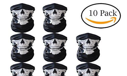 Abseed 10 Stücke Packung Multifunktionstuch Schädel Gesicht Schlauch Maske Motorrad Totenkopf Sturmmaske für Halloween /Fahrrad / Ski/ Wandern.etc. 10er Schwarz