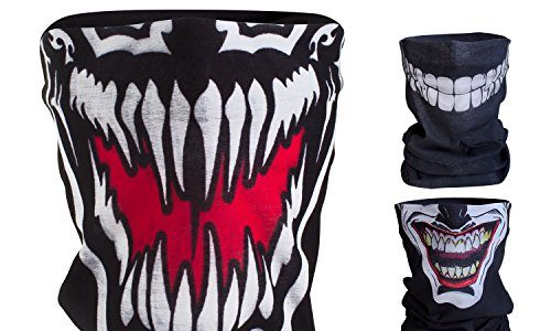 Hochwertige Sturmhaube als Wärm- und Schutztuch – Halstuch, Face Shield, Gesichtsmaske – BlackNugget Bedrucktes Multifunktionstuch mit ausgefallenem Design – Venom