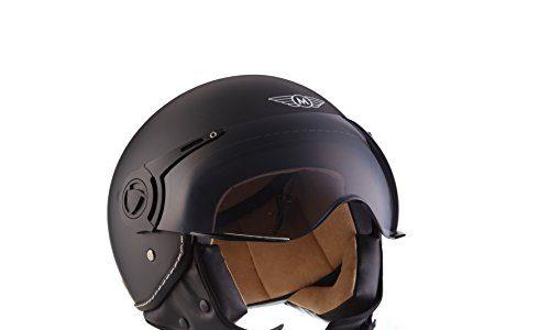 moto helmets h44 matt black mofa helmet retro vintage. Black Bedroom Furniture Sets. Home Design Ideas