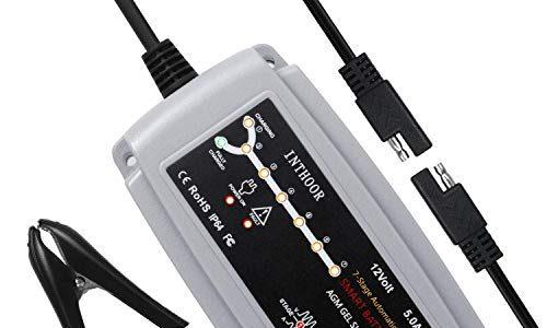 Inthoor 5A/12V Vollautomatisches Autobatterie Ladegeräte,Intelligentes Batterieladegerät Wasserdichte und LED-Ladefortschrittsanzeige für KFZ Auto PKW Motorrad ATV Boot für Batterien von 15Ah-120Ah