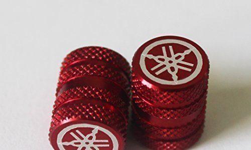 2er Set GENUINE Yamaha Stimmgabel Gerändelt ROT Reifen Ventilkappen Staubkappen Protektoren für Motorräder, Fahrräder, ATV , Auto , Van
