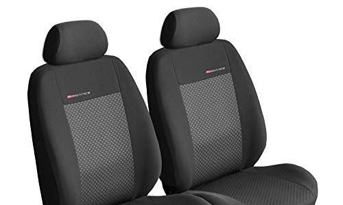 Elegance P3 – Sitzbezüge Auto Vordersitze Universal Autositzbezüge Schonbezüge Vorne Dunkelgrau-Grau mit Airbag System
