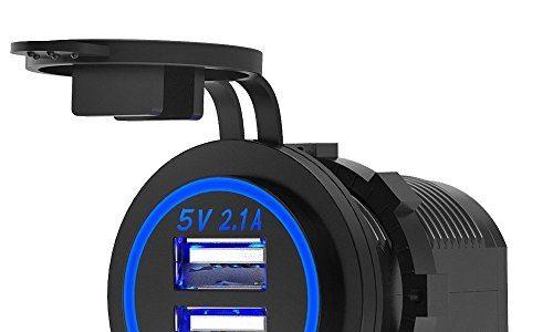 ZBLighting USB Auto Steckdose Auto Ladegerät Dual Ports 5 V 4.2A USB-Ladegerät Adapter Schnell Lade Outlet DC 12 V-24 V Blaue LED für Smartphone
