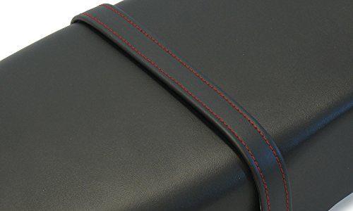AKF Halteriemen für Sitzbank schwarz mit Ziernaht in Rot – Handarbeit