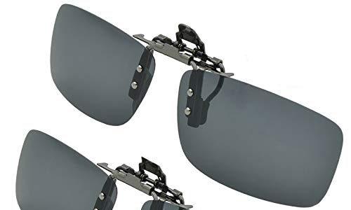 Splaks Sonnenbrille Aufsatz, 2-Stück Clip on Polarisiert Clip polarisierte Sonnenbrille Flip up Sonnenbrille Clip Gegen Licht für Frauen und MännerSchwarz+Schwarz