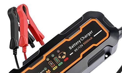TCOCHE Automatisches Batterieladegerät, Vollautomatisches Batterie Ladegerät/Desulfator/Wartungsgerät 5 Ampere Auto Batterie Lade- und Testgerät. für 6/12V Motorrad, PKW 6/12V 5A