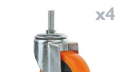PrimeMatik – Lenkrollen Schwenkrollen Industriell Rad aus Polyurethan ohne Bremse 100 mm M12 4-Pack