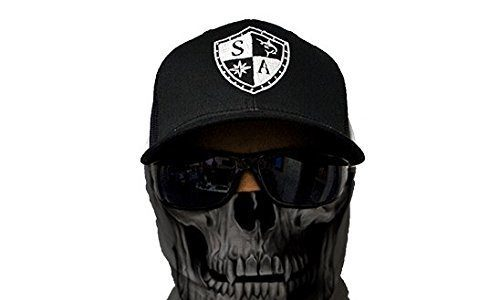 SA Fishing Face Shields ** 40+ Designs verfügbar ** Qualitäts Bandana / Multifunktionstuch / Schlauchtuch / Halstuch aus Stoff & SPF 40 – Face Masks von SA Company, Grey Skull