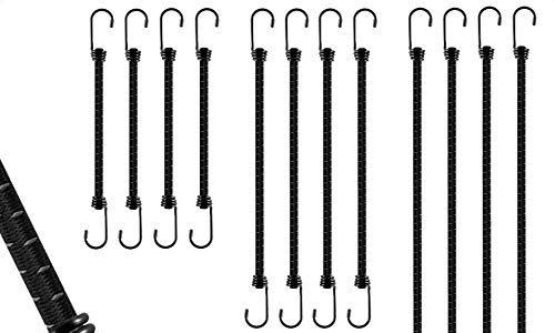 3 Set-Varianten – 100 cm – extra starke Spanngummis mit Haken – Gummispanner mit hoher Spannkraft   – schwarz grau – verschiedenen Längen 20 cm – Premium Gepäckspanner 12er Set