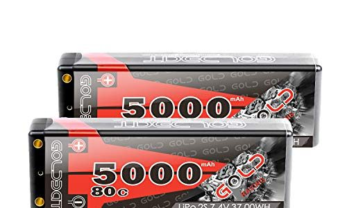GOLDBAT Lipo RC Akku 5000mAh 7,4V 80C 2S RC Batterie mit Deans-T Stecker für RC Auto Boot Truck LKW Truggy RC Hobby【Hartschale】 2 Packs