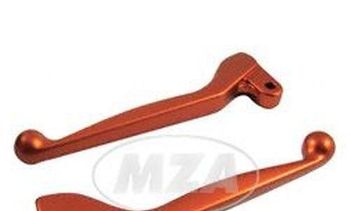Handhebel SET SIMSON, ALU-massiv, Bremshebel + Kupplungshebel auch für Ausführung mit Bremslichtschalter, Farbe orange, S51,S53, SR50