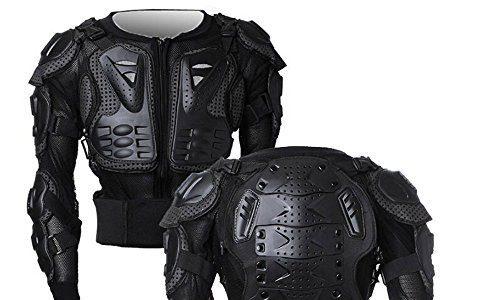 SunTime Motorrad Vollkörper Rüstungsschutz Pro Street Motocross ATV Schutzhemd Jacke mit Rückenschutz Schwarz L