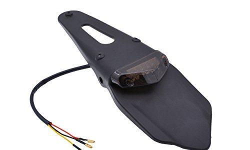 KaTur Schutzblech mit rotem LED-Bremslicht, für hinten, mit Halterung, für Offroad-Motorräder, Motocross, Dirt Bikes rotes Glas
