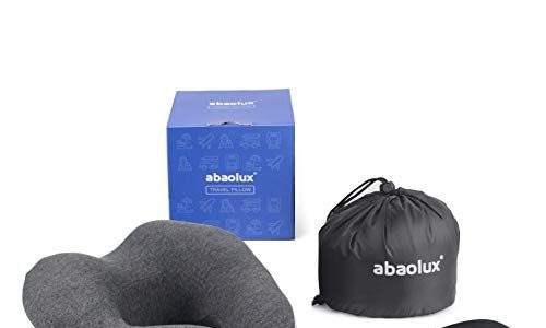 Abaolux Nackenkissen Memory Foam Reisekissen aus weichem und angenehmen Memory-Schaumstoff, atmungsaktiv und ergonomische Stützfunktion, Nackenkissen Reisen mit Schlafmaske und OhrenstöpselGrau