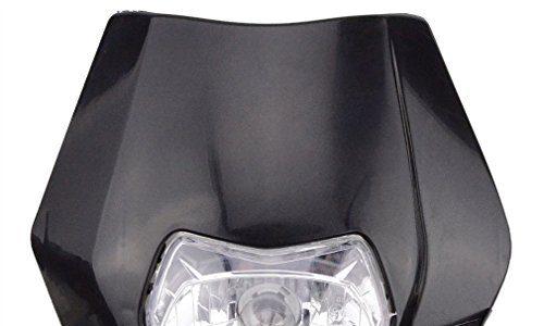 GOOFIT schwarz 12V 35W Scheinwerfer Frontscheinwerfer Lichtmaske mit Front Verkleidung für Motorrad Dirtbike Motocross Schwarz dit Pocketbike