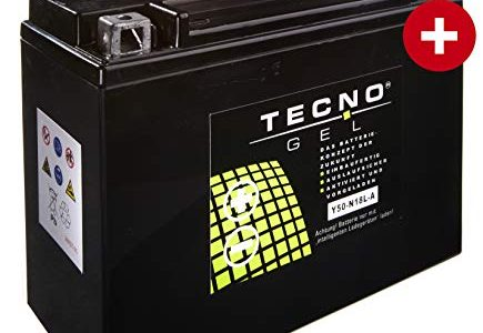 TECNO-GEL Motorrad-Batterie Y50-N18L-A, 12V Gel-Batterie 20Ah DIN 52016, 205x90x160 mm inkl. Pfand