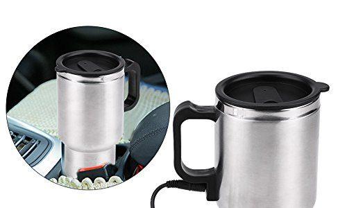 Jadeshay Elektrische Thermosflasche – 12V Edelstahl Auto Wasserkocher Becher Reise Heizung Tasse für Kaffee Tee, 450ml
