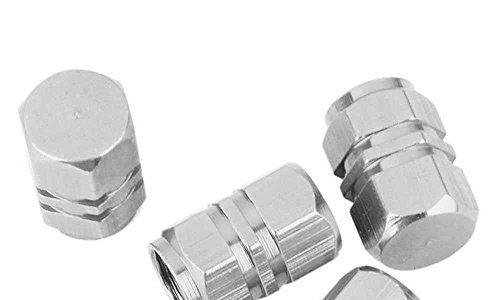 4 Stück Silber Sechskant Alu Ventilkappen für Autos PKW LKW Motorrad Chrom NEU