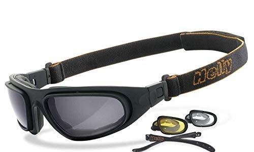 No.1 Bikereyes® | beschlagfrei, winddicht, nachtsicht HLT® Kunststoff-Sicherheitsglas nach DIN EN 166 | Bikerbrille, Motorradbrille, Multifunktionsbrille | Brillengestell: schwarz – Helly®