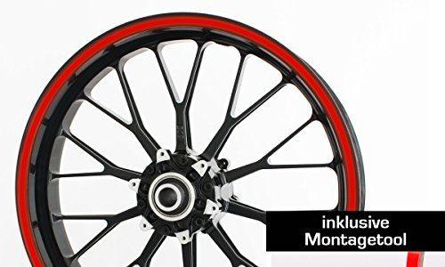 Motoking Felgenrandaufkleber mit Montagetool für Ihr Motorrad in ROT REFLEKTIEREND / 6 mm/für 10″ bis 25″