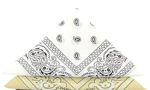 KARL LOVEN Bandanas 5er Pack 100% Baumwolle Paisley Halstuch Kopf Hals Schal 5er Pack, Weiß Schwarz Grau Beige Braun