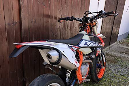 Supermoto Motorrad Auspuffprotektor Auspuffschutz Auspuffring Schutzring Exhaust Protector Slider Can Cover Silencer Enduro Motoross schwarz L