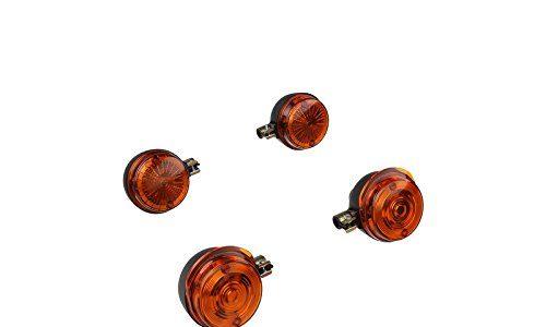 MZA Set: 4 Blinker rund in Schwarz mit orangenem Glas – Simson S50, S51, S70, SR50, SR80, MZ ETZ, TS