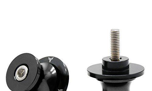 2tlg M6*1,5 Alu Schwingenschutz Schwingenadapter Ständer Bobbins Spool Racingadapter Ständeraufnahme 6mm für Yamaha MT01 MT-01 FZ-01 MT03 MT-03 MT-125 MT09 MT-09 MT10 MT-10 Schwarz