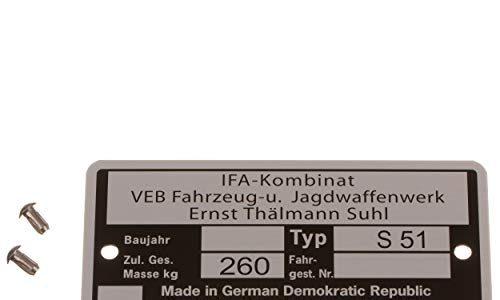 mit 2x Kerbnagel Ø2,5x5mm – Set Rahmenplakette, Typenschild für S51