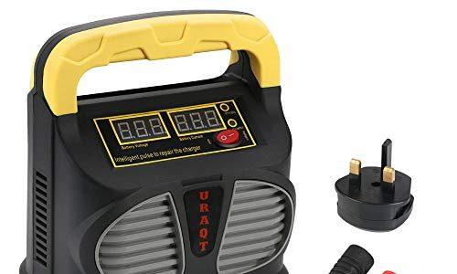 URAQT Batterie Ladegerät Auto, 10A 12V/24V Batterieladegerät Auto Erhaltungsladegerät mit Mehrfachschutz für Autos, Motorräds, ATVs, Wohnmobile