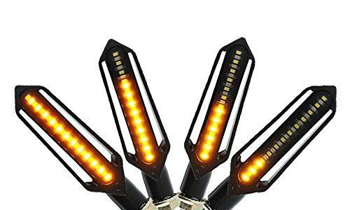 FEZZ LED Blinker Motorrad Universal mit Bremslicht Tagfahrlicht Motorrad, E Roller Blinker, Packung mit 4 Bernstein+Rot+Weiß
