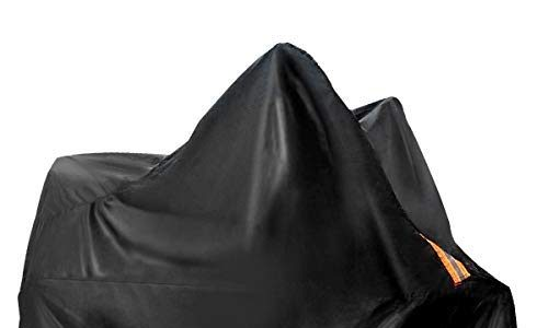 Audew Motorradabdeckung Motorrad Abdeckplane Outdoor Motorradgarage Wasserdicht Schutzhülle mit Schlosslöcher Outdoor/Indoor Motorrad Abdeckung Fahrradabdeckung(Zwei Größen)