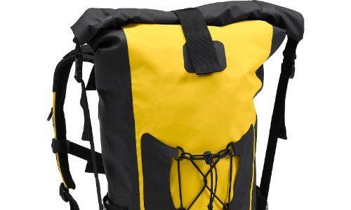 QBag Motorradrucksack Rucksack 05, wasserdicht, staubdicht, widerstandsfähig, reißfest, Gute Rückenbelüftung, Rollverschluss, integrierter Tragegriff, Gelb, 45 Liter