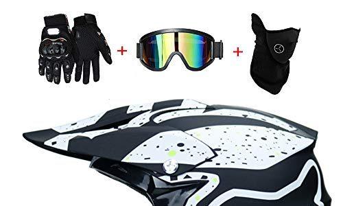 WanSheng Motorrad Motocross Motorradhelme & Windschutzmaske & Handschuhe & SCHUTZBRILLE D.O.T Standard Kinder Quad Bike ATV Go-Kart-Helm Fox S, M, L, XL,Fox~Green,S55~56CM