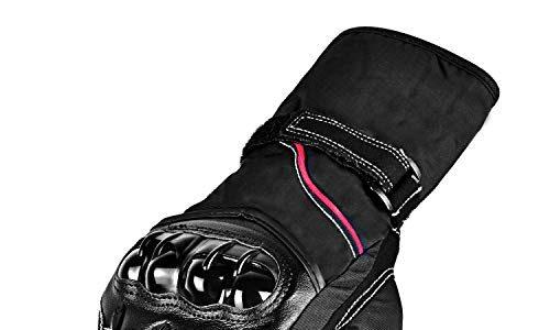 Motorradhandschuhe, CARCHET motorradhandschuhe wasserdicht Touchscreen 3M Xinxiuli Verdickung Vollfinger mit Samt Anti-Rutsch für Motorrad Outdoor, schwarz XL