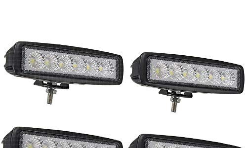 LED Zusatzscheinwerfer IP67 Aluminium für Reflektor Offroad Agrar Traktor – 4 X 18W LED Arbeitsscheinwerfer Light Bar Arbeitslicht