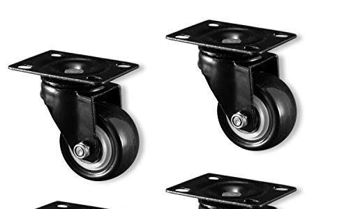 bis 400kg – leises Abrollen, laufspurenfrei – 70mm Gesamthöhe – Nirox 4x Möbelrollen im Set – 50mm Lenkrollen – Für Innen und Außen